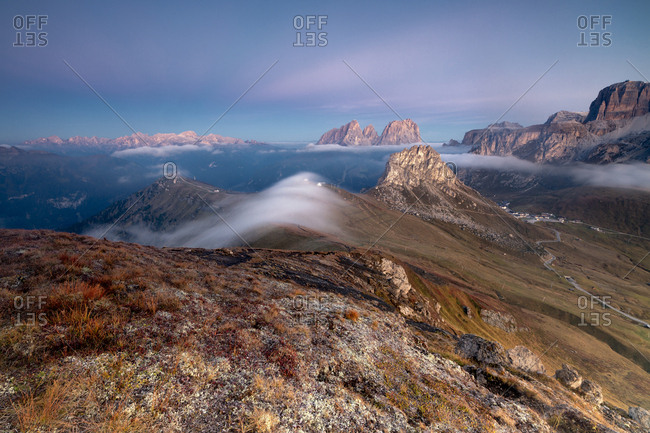 View of Sass Beca and Sassolungo at dawn from Cima Belvedere, Canazei, Val di Fassa, Trentino-Alto Adige, Italy, Europe