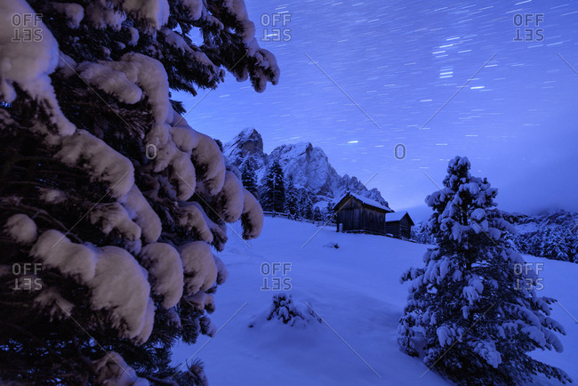 Star trail and snowy trees frame the wooden hut and Sass De Putia, Passo Delle Erbe, Funes Valley, South Tyrol, Italy, Europe