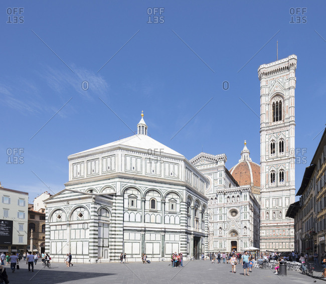 The complex of Duomo di Firenze with ancient Baptistery, Giotto's Campanile and Brunelleschi's Dome