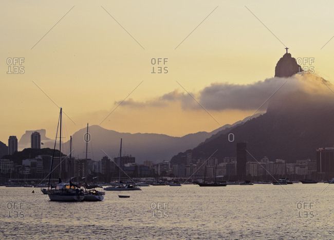Sunset over Botafogo Bay and Corcovado Mountain viewed from Urca