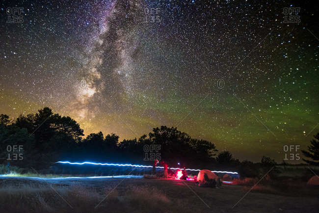 Camping under The Milky Way, as seen at the Torrance Barrens Dark Sky Reserve, two hours drive from Toronto, Ontario, Canada, North America