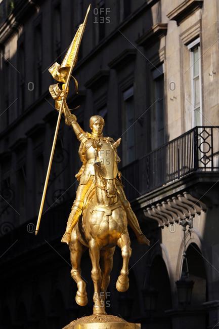 France, Paris - June 7, 2014: France, Paris. 1st arrondissement. Place des Pyramides. Equestrian statue of Joan of Arc.