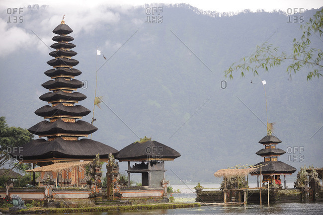 Indonesia, Bali, Bedugul, the temple of Ulun Danu is located at the edge of Lake Bratan The Temple with its Atap Meru (bunk roofs) of 11 roofs is dedicated to the goddess of waters