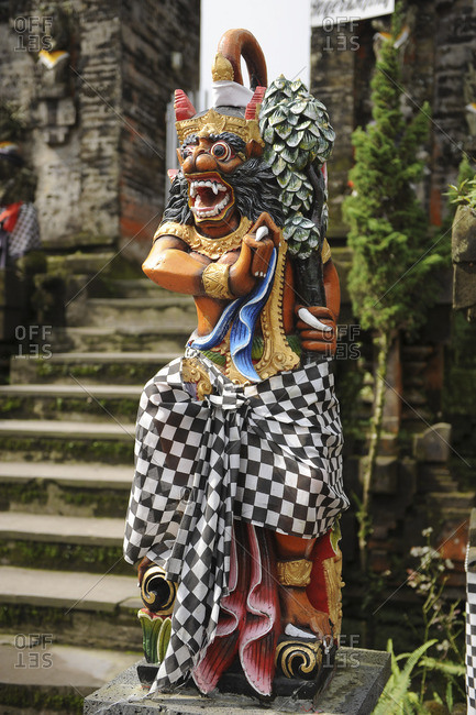 Indonesia, Bali, Bedugul, Statue in the temple of Ulu Ulun Danu. The temple of Ulu Ulun Danu is located on the shores of Lake Bratan. The Temple is dedicated to the goddess of waters