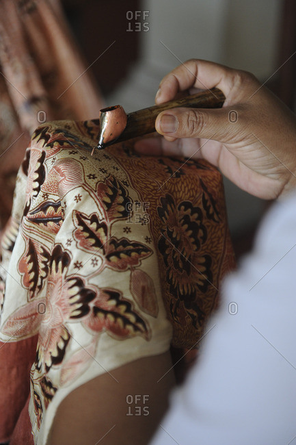 Indonesia, Bali, Celuk, Batik Manufacturing, The technique consists in drawing a pattern on a fabric