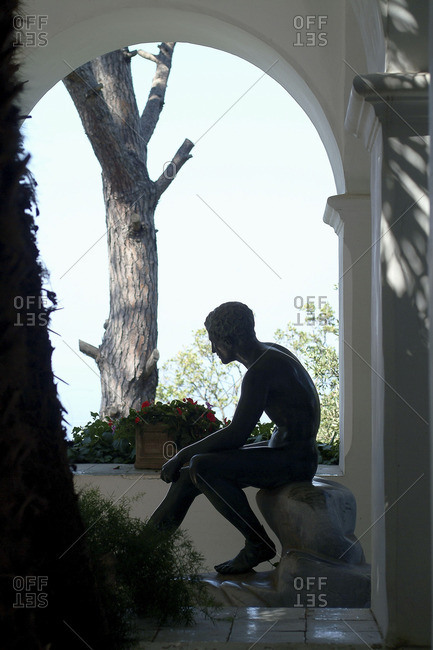 Italy, Amalfi Coast, Capri, Statue of Hermes in San Michele Villa. The villa carries the brand of the strong personality of its owner Axel Munthe, a Swedish writer and doctor.