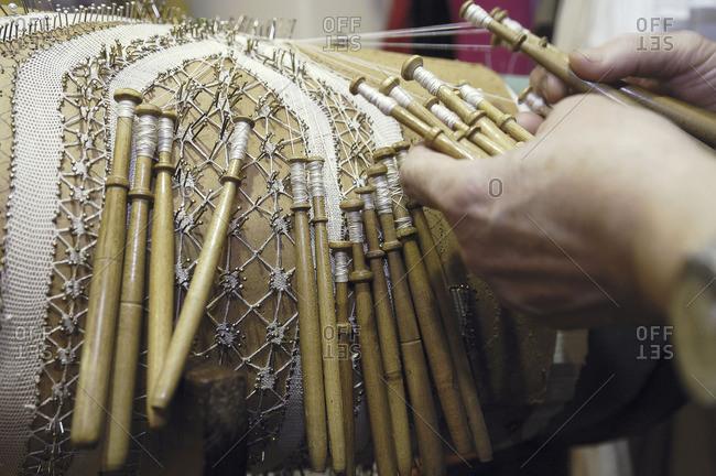 Italy, Amalfi Coast, Positano, craftsmanship, Angelina is the last lacemaker of Positano, she can be seen at Idillo, 15 Via del Saracino in Positano