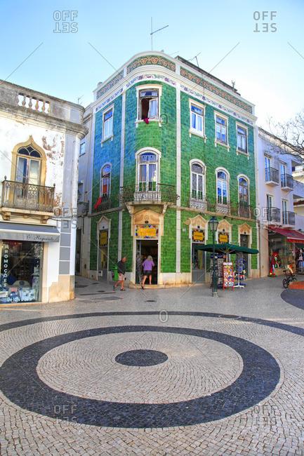 Portugal, Lagos - April 25, 2014: Portugal, Algarve, Lagos. Tiled house on th emain square