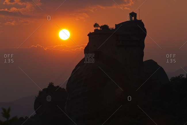 Valley of Penee, Orthodox Christian monasteries of Meteora perched atop impressive gray rock masses