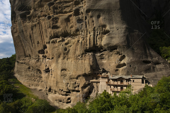Valley of Penee, Orthodox Christian monasteries of Meteora perched atop impressive gray rock masses