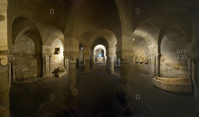 France, Western France, Vendee, panoramic view of the crypt of the church of Copechaniere. Sarcophagus on the right