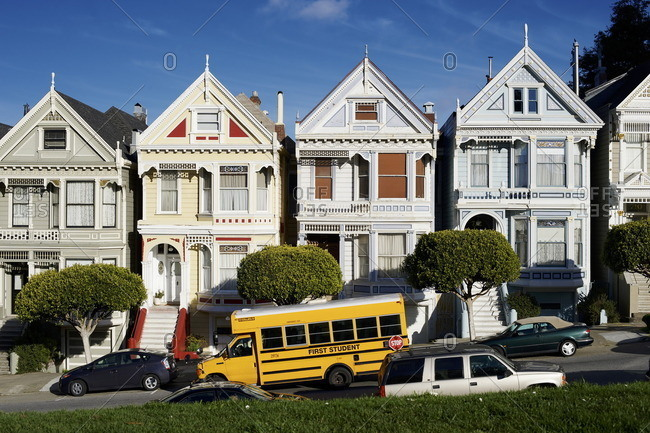 "San Francisco, USA - February 6, 2013: USA, San Francisco, The famous ""Painted Ladies"" on Steiner Street near Alamo Square"