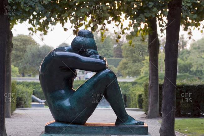 France, Paris, 1st district, Jardin des Tuileries, the Mediterranean, statue by Aristide Maillol.
