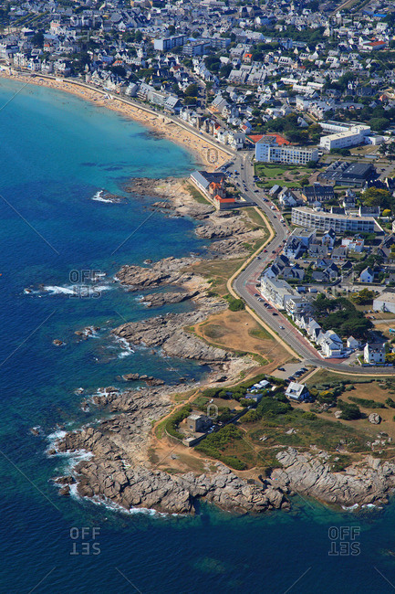 France, Western France, aerial view of Quiberon peninsula.