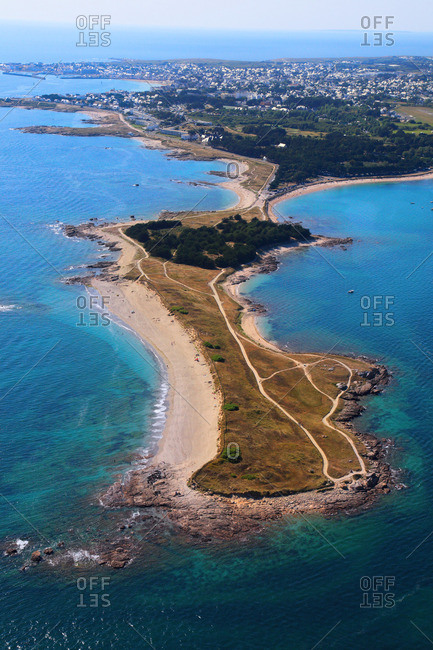 France, Western France, aerial view of Quiberon peninsula. Pointe Conguel.