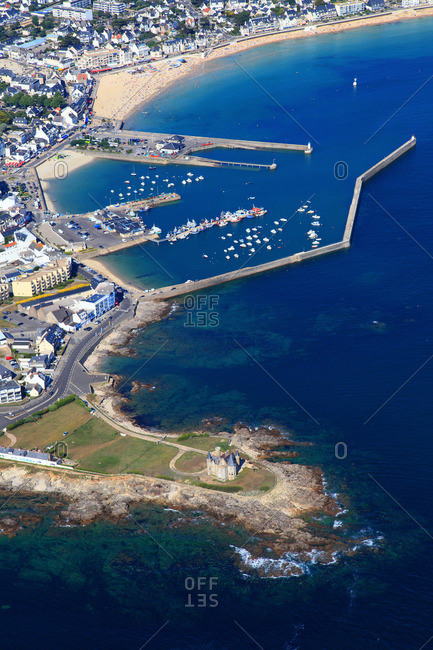 France, Western France, aerial view of Quiberon peninsula. Castle of Quiberon. Harbor in the background.