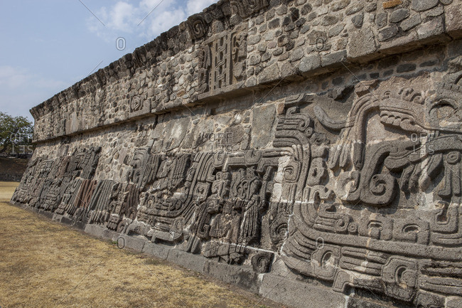 Mexico, Morelos State, Pre-Columbian site, The Feathered Serpents pyramid, detail of bas-reliefs of Xochicalco, Unesco World Heritage
