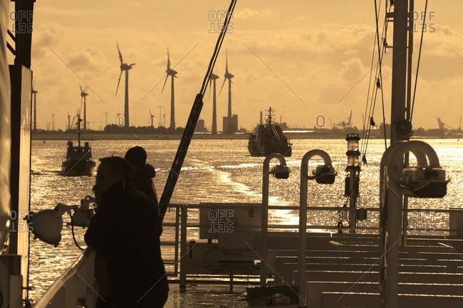 Germany. Lower Saxony. Emden. The Ems. Ferry to Borkum island.
