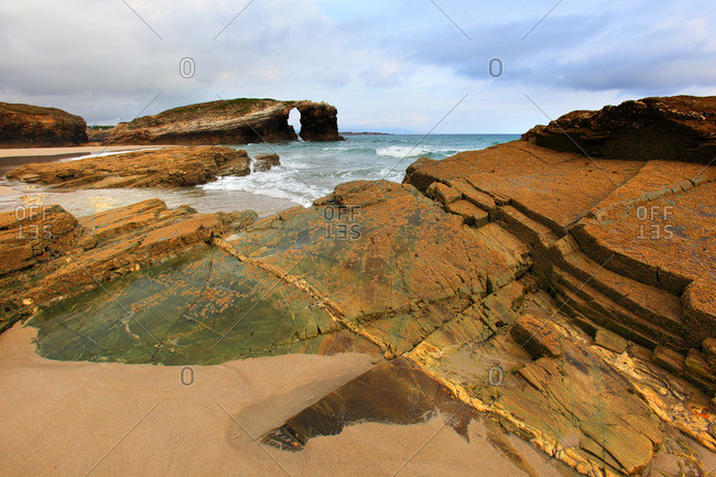 Spain, Galicia. Ribadeo. Las Catedrales beach.