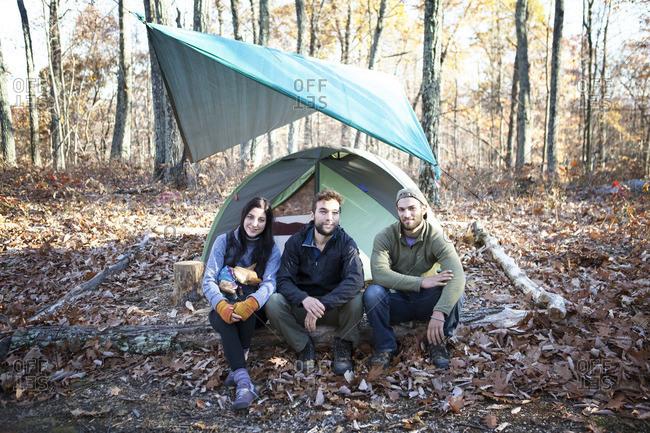 Portrait of friends sitting on fallen tree trunk by tent in forest