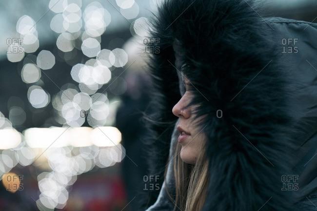 Close-up of woman wearing fur coat