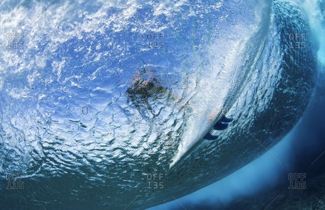 Low angle view of man surfing in sea