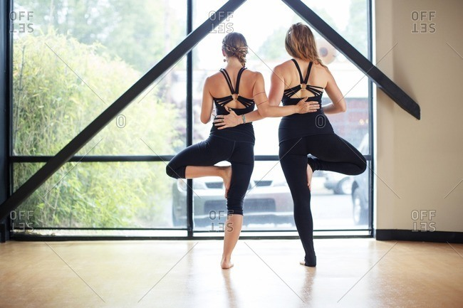 Rear view of friends practicing tree pose in studio
