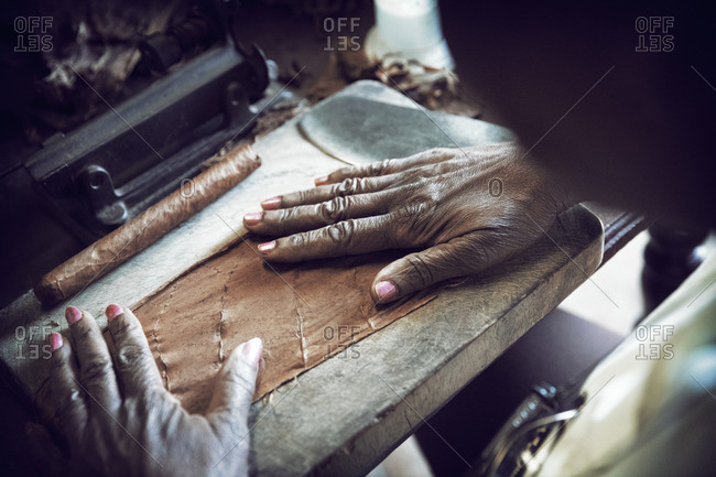 Cropped image of woman spreading leaf while making cigar in factory