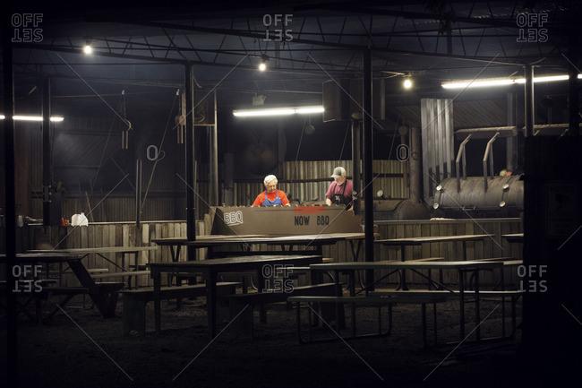 Workers working in restaurant
