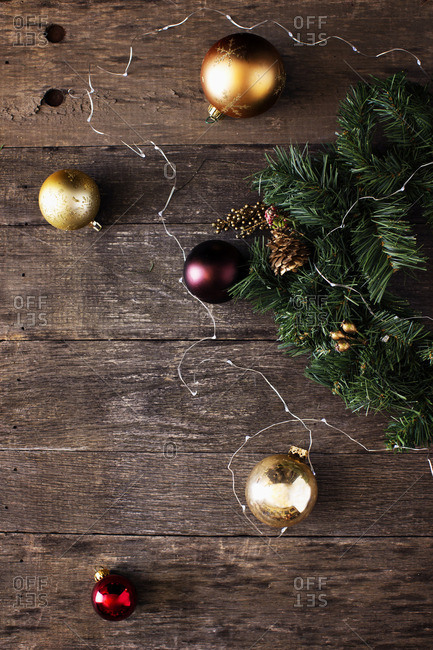 High angle view of Christmas decorations on wooden table