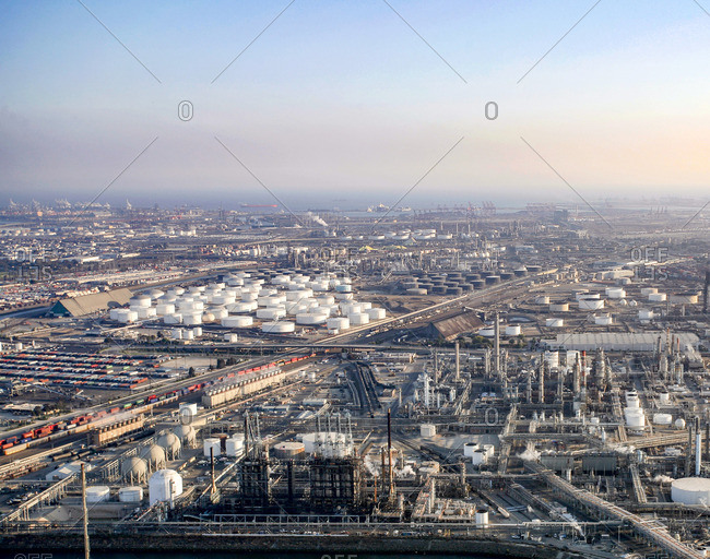 Aerial view of oil refinery factory against sky