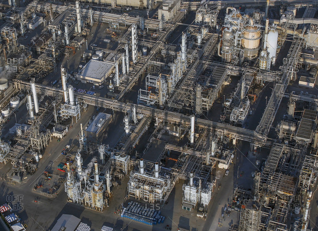 High angle view of oil refinery factory