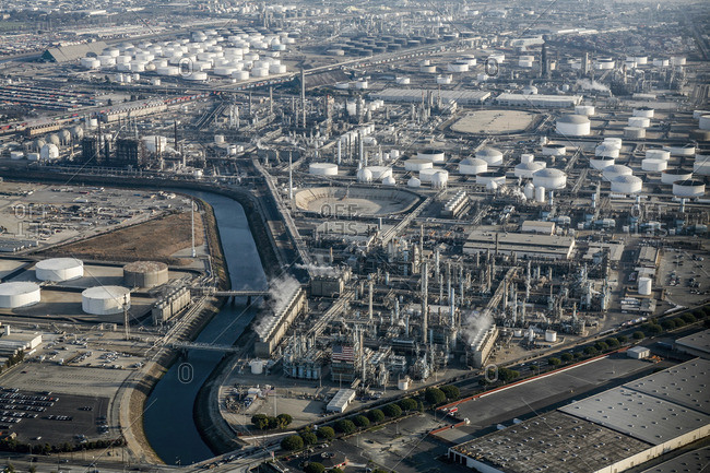 High angle view of gas refinery factory