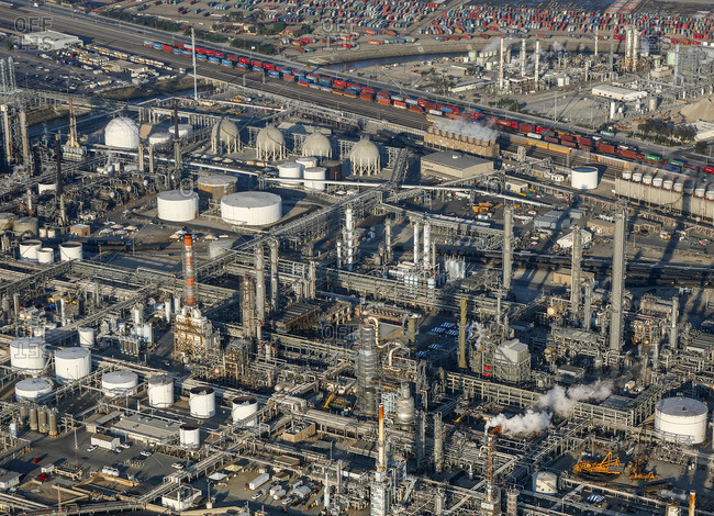 High angle view of oil refinery industry