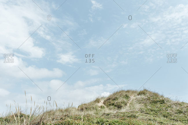 Low angle view of grassy hill against sky on sunny day