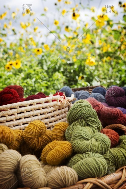 Various balls of wool in wicker basket against plants