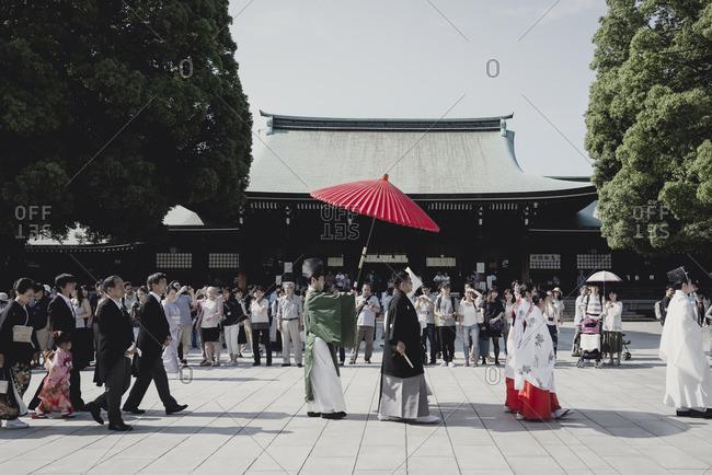Tokyo, Japan - June 18, 2016: Japanese wedding at Meiji-jingu Shrine