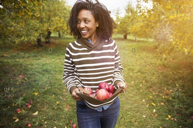 Smiling woman carrying apples while standing in orchard