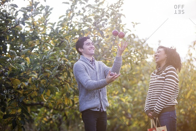 Cheerful woman looking at husband playing with apples in orchard