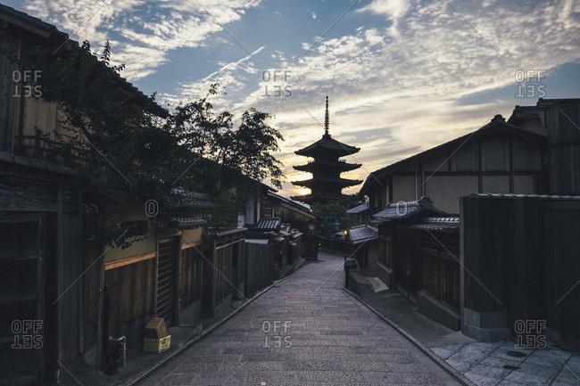 asana pagoda against cloudy sky