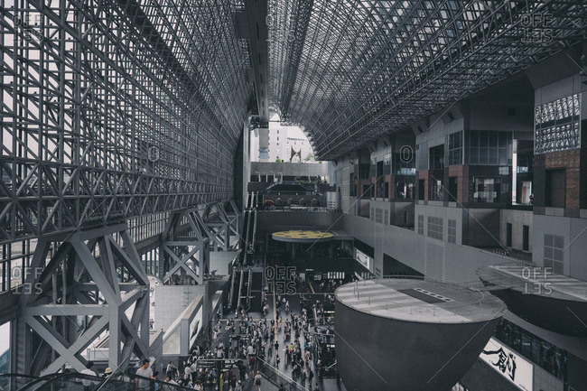 High angle view of interior of Kyoto station
