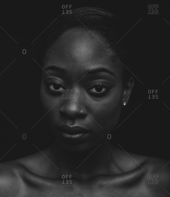 Portrait of an African American woman with a serious expression