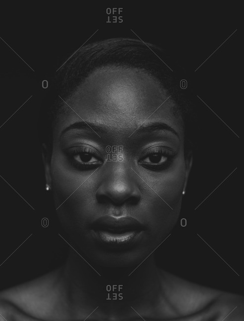 Close up of an African American woman with a serious expression