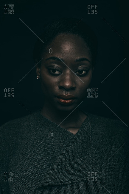 Close up of an African American woman with red lips