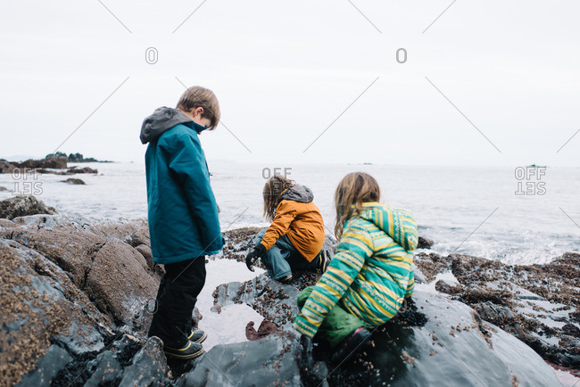 Kids exploring a winter beach