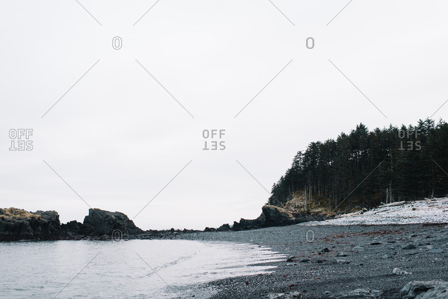 A rugged rocky shore in winter