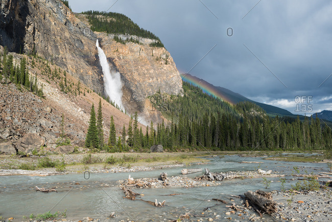Takakkaw Falls in Yoho National Park, after a summer thunderstorm