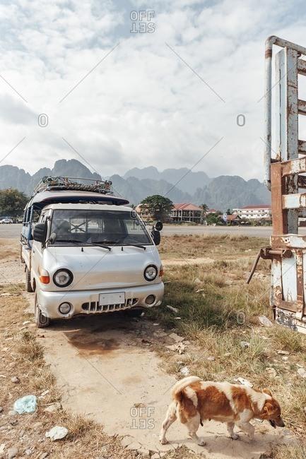 Van Vieng, Laos - November 17, 2010: Parked van in the countryside