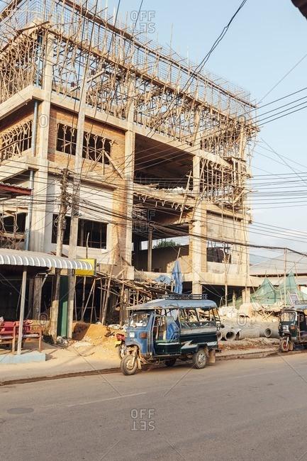 Van Vieng, Laos - November 17, 2010: Building under construction