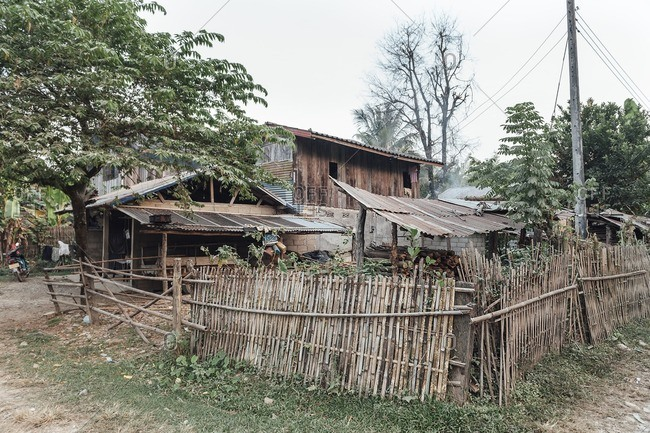 Van Vieng, Laos - November 19, 2010: Typical lao house in the countryside